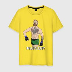 Мужская хлопковая футболка с принтом Конор МакГрегор, цвет: желтый, артикул: 10203926300001 — фото 1