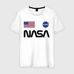 Футболка хлопковая мужская NASA НАСА цвета белый — фото 1