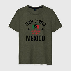 Футболка хлопковая мужская Team Canelo цвета меланж-хаки — фото 1