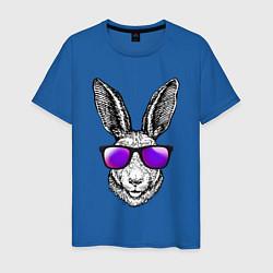 Мужская хлопковая футболка с принтом Клевый заяц, цвет: синий, артикул: 10209645500001 — фото 1