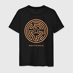 Футболка хлопковая мужская Westworld labyrinth цвета черный — фото 1