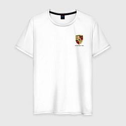 Футболка хлопковая мужская PORSCHE цвета белый — фото 1