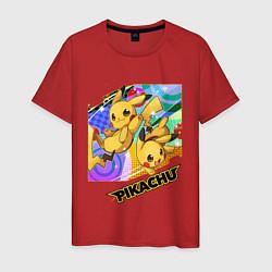 Мужская хлопковая футболка с принтом Pikachu, цвет: красный, артикул: 10211950500001 — фото 1