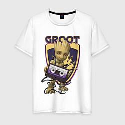 Мужская хлопковая футболка с принтом Groot, цвет: белый, артикул: 10216650500001 — фото 1