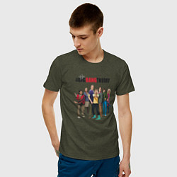Футболка хлопковая мужская Heroes of the Big Bang Theory цвета меланж-хаки — фото 2