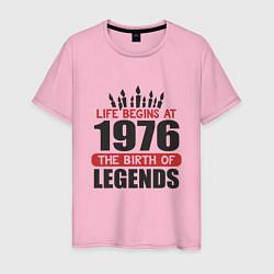 Футболка хлопковая мужская 1976 - рождение легенды цвета светло-розовый — фото 1