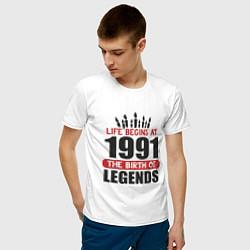 Футболка хлопковая мужская 1991 - рождение легенды цвета белый — фото 2