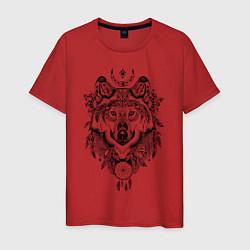 Футболка хлопковая мужская Татемный волк цвета красный — фото 1