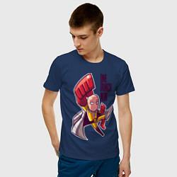 Мужская хлопковая футболка с принтом С одного удара, цвет: тёмно-синий, артикул: 10250683500001 — фото 2