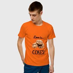 Футболка хлопковая мужская Печеньки цвета оранжевый — фото 2