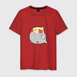 Мужская хлопковая футболка с принтом Пухлый попугайчик, цвет: красный, артикул: 10253468100001 — фото 1