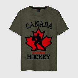 Мужская хлопковая футболка с принтом Canada Hockey, цвет: меланж-хаки, артикул: 10025444700001 — фото 1