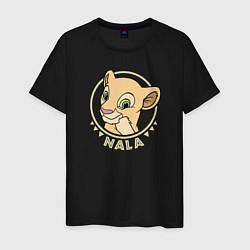 Мужская хлопковая футболка с принтом Нала, цвет: черный, артикул: 10266111700001 — фото 1