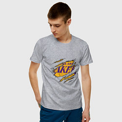 Мужская хлопковая футболка с принтом Los Angeles Lakers, цвет: меланж, артикул: 10274328700001 — фото 2