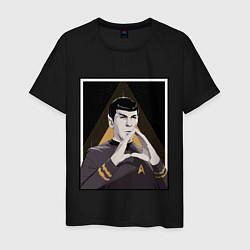 Футболка хлопковая мужская Spock Z цвета черный — фото 1