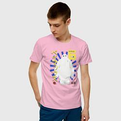 Футболка хлопковая мужская Бэймакс Город Героев 6 цвета светло-розовый — фото 2