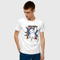 Футболка хлопковая мужская Бэймакс Город Героев 6 цвета белый — фото 2