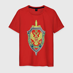 Футболка хлопковая мужская ФСБ цвета красный — фото 1