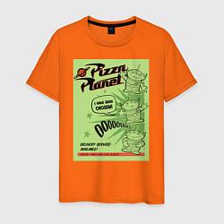 Футболка хлопковая мужская Pizza Planet цвета оранжевый — фото 1