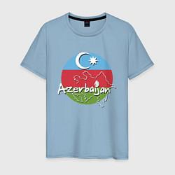 Футболка хлопковая мужская Азербайджан цвета мягкое небо — фото 1