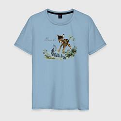 Футболка хлопковая мужская Bambi цвета мягкое небо — фото 1