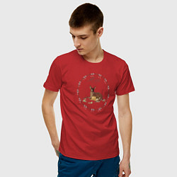 Футболка хлопковая мужская Bambi цвета красный — фото 2