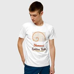 Футболка хлопковая мужская Fibonacci Золотое сечение цвета белый — фото 2
