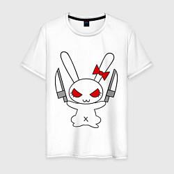 Мужская хлопковая футболка с принтом Зайка с ножами, цвет: белый, артикул: 10029116400001 — фото 1