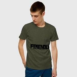 Футболка хлопковая мужская DayZ: Im friendly цвета меланж-хаки — фото 2