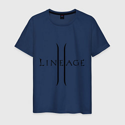 Футболка хлопковая мужская Lineage logo цвета тёмно-синий — фото 1