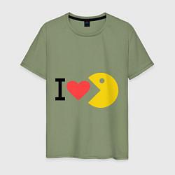 Футболка хлопковая мужская I love Packman цвета авокадо — фото 1
