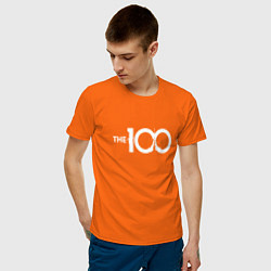 Футболка хлопковая мужская The 100 цвета оранжевый — фото 2