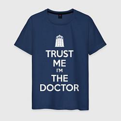 Футболка хлопковая мужская Trust me Im the doctor цвета тёмно-синий — фото 1