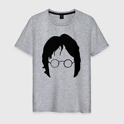 Футболка хлопковая мужская John Lennon: Minimalism цвета меланж — фото 1