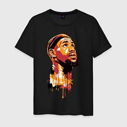 Мужская хлопковая футболка с принтом LeBron Head, цвет: черный, артикул: 10063619000001 — фото 1