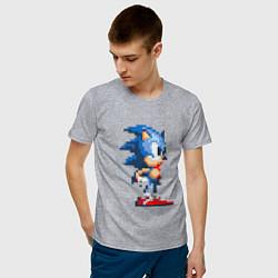 Футболка хлопковая мужская Sonic цвета меланж — фото 2