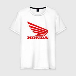 Мужская хлопковая футболка с принтом Honda Red, цвет: белый, артикул: 10073079500001 — фото 1