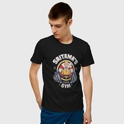 Мужская хлопковая футболка с принтом Saitama's Gym, цвет: черный, артикул: 10082100200001 — фото 2