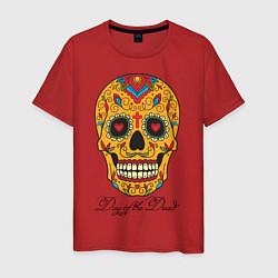 Футболка хлопковая мужская Мексиканский череп цвета красный — фото 1