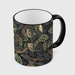 Кружка 3D Тропический камуфляж цвета 3D-черный кант — фото 1