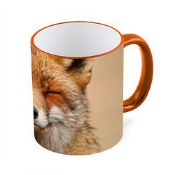 Кружка 3D Лиса щурится цвета 3D-оранжевый кант — фото 1