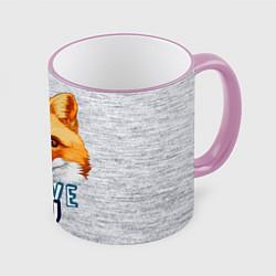 Кружка 3D Милая лисичка! цвета 3D-розовый кант — фото 1