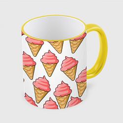 Кружка 3D Мороженки цвета 3D-желтый кант — фото 1