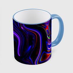 Кружка 3D Цветные разводы цвета 3D-небесно-голубой кант — фото 1