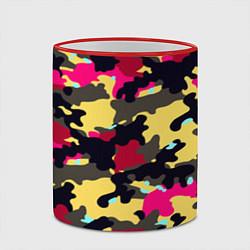 Кружка 3D Камуфляж: желтый/черный/розовый цвета 3D-красный кант — фото 2
