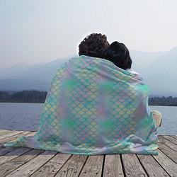 Плед флисовый Голубая чешуя цвета 3D-принт — фото 2