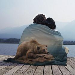 Плед флисовый Грустный медведь цвета 3D — фото 2