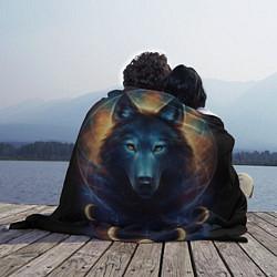 Плед флисовый Волк затмения цвета 3D-принт — фото 2