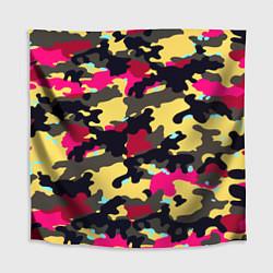 Скатерть для стола Камуфляж: желтый/черный/розовый цвета 3D — фото 1