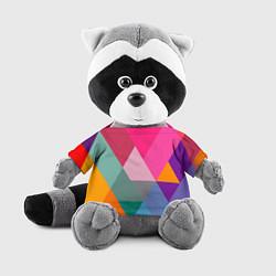 Игрушка-енот Разноцветные полигоны цвета 3D-серый — фото 1